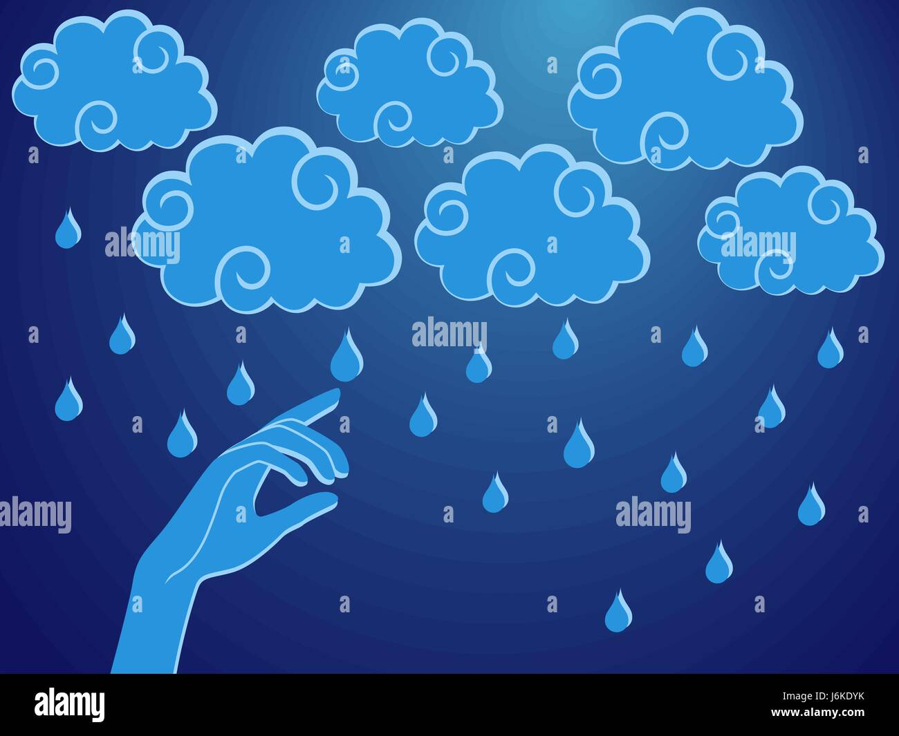 Human hand touching a rain droplet, stylised conceptual vector illustration - Stock Vector