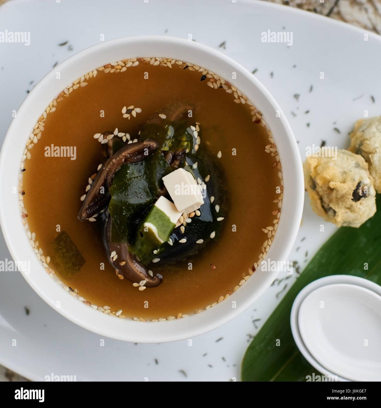 Miso soup with shiitake mushrooms - Stock Image