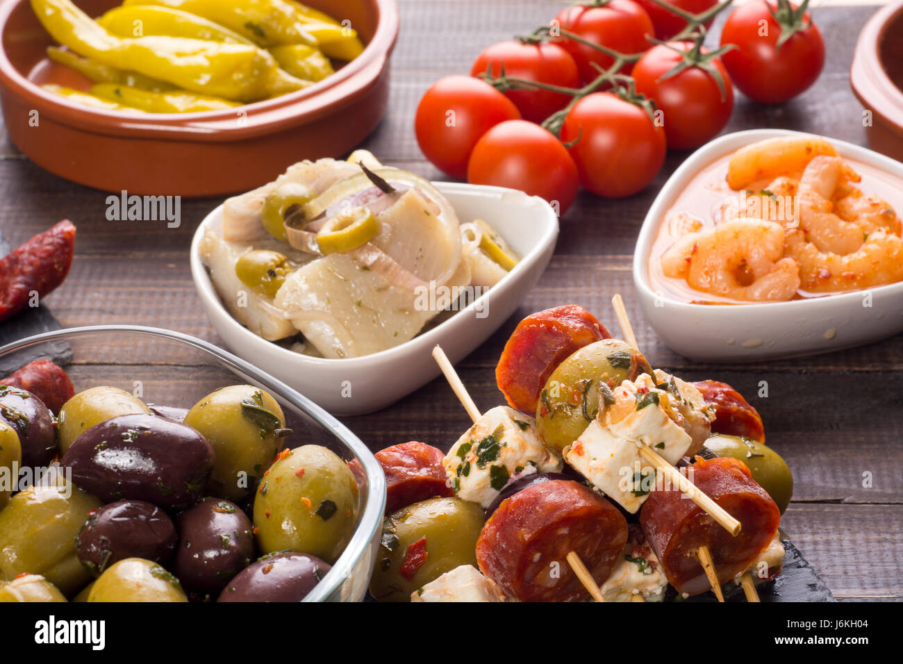 Table With Variety Of Mediterranean Appetizers   Tapas