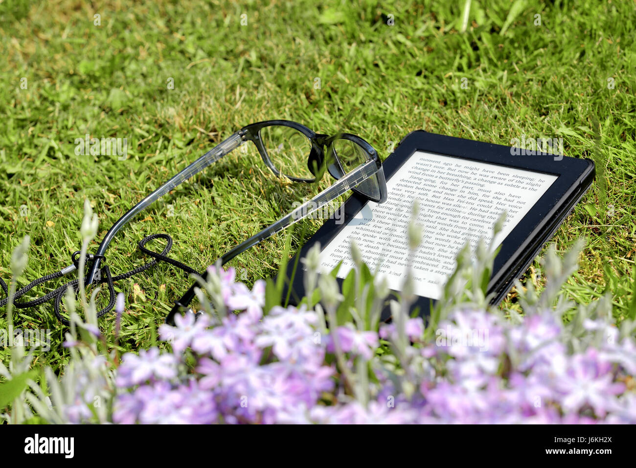 An electronic book reader and glasses on the grass - Stock Image