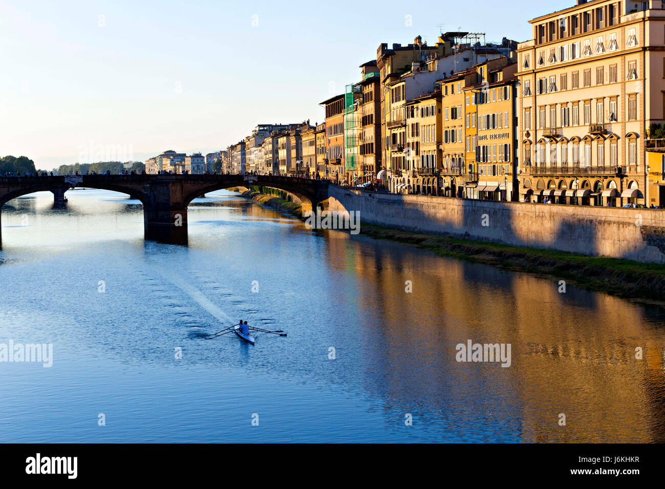 Santa Trinita Bridge over the River Arno, Florence, Italy - Stock Image