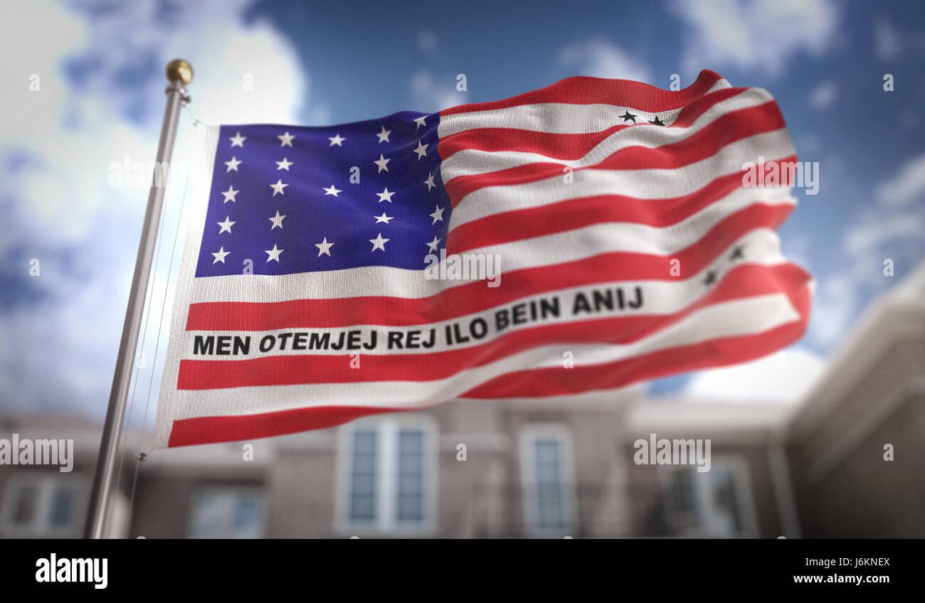 Bikini Atoll Flag 3D Rendering on Blue Sky Building Background - Stock Image