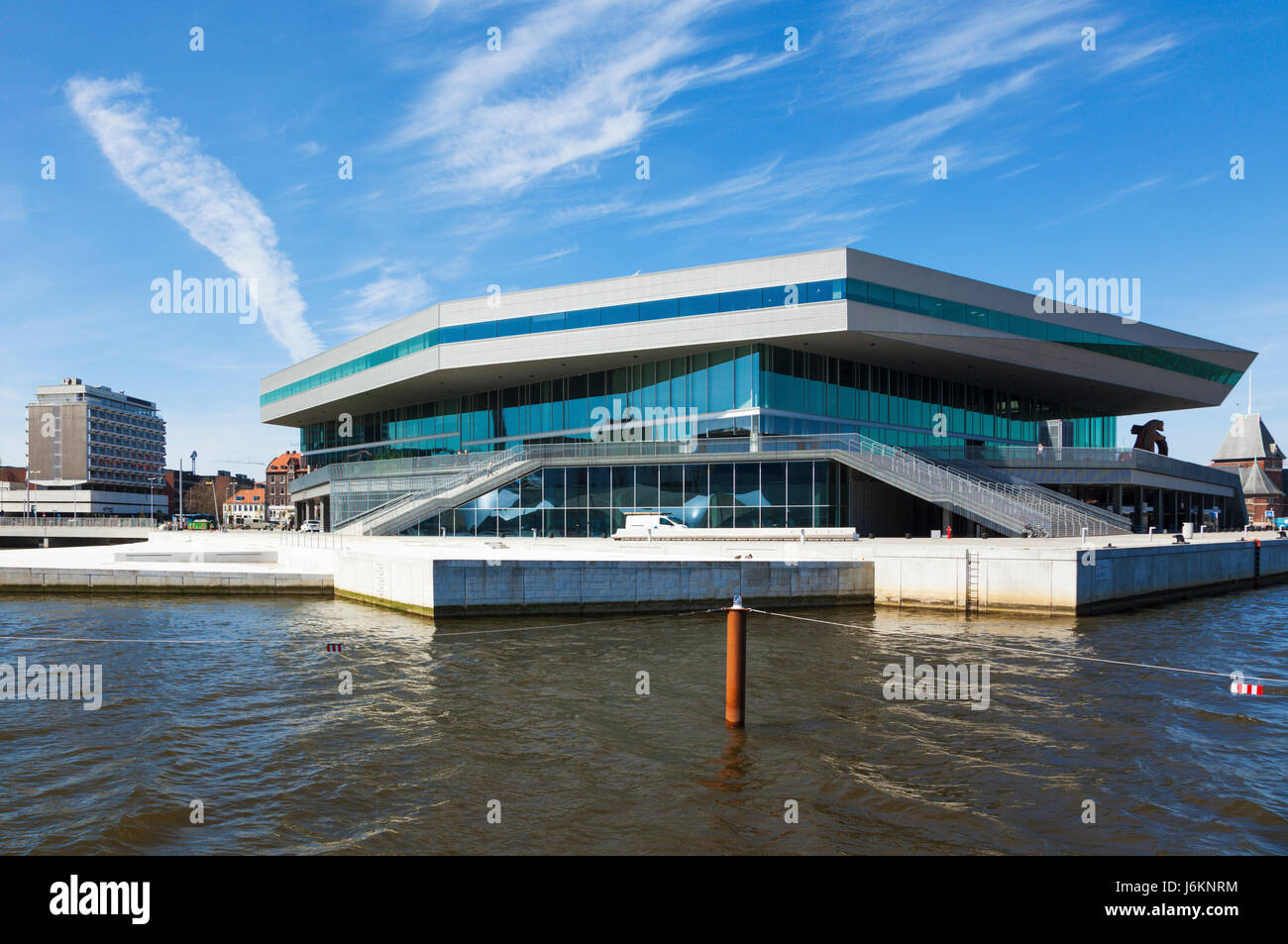 Dokk1 building at Aarhus, Denmark, seen from the harbor. Dokk1 is a public library and culture center. - Stock Image