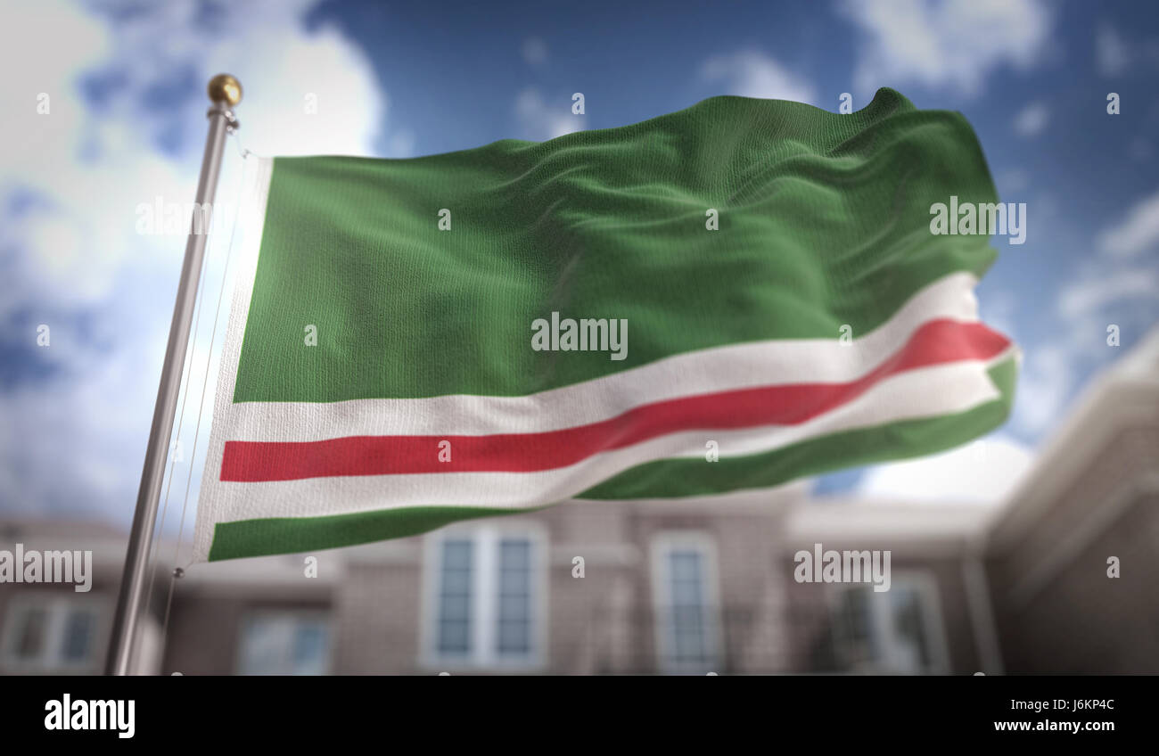 Chechen Republic of Ichkeria  Flag 3D Rendering on Blue Sky Building Background - Stock Image