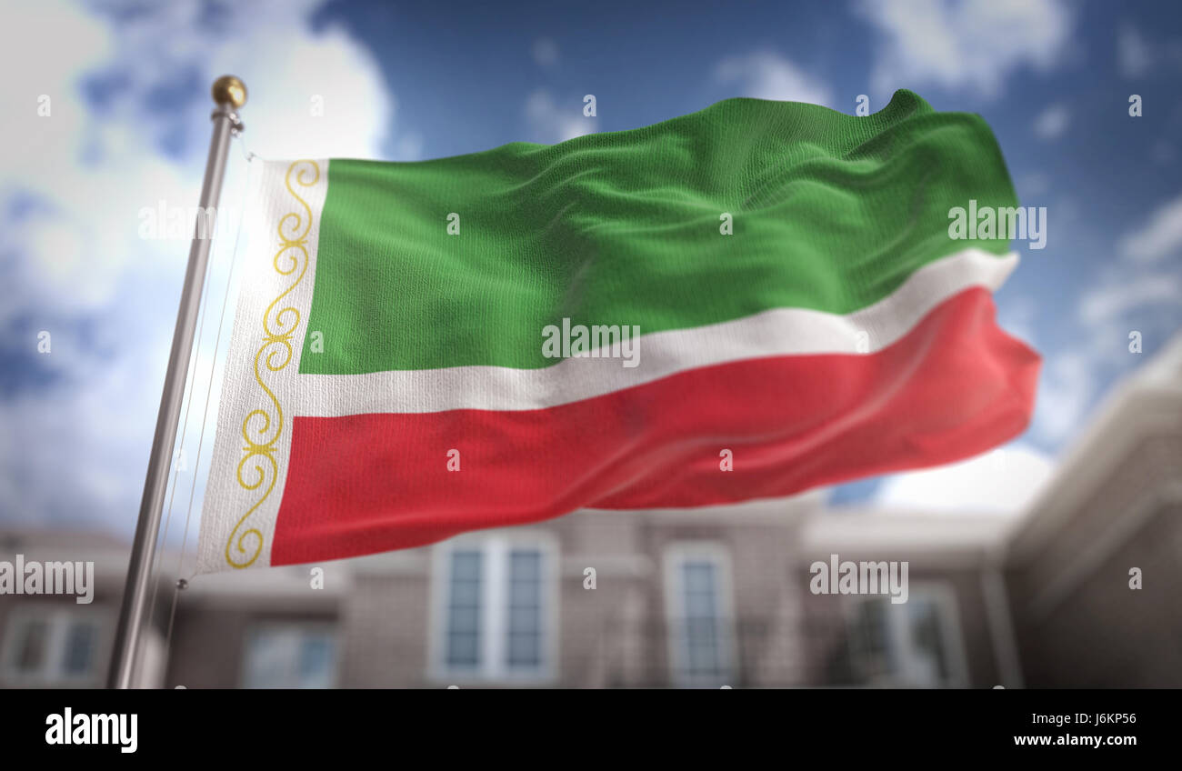 Chechen Republic Flag 3D Rendering on Blue Sky Building Background - Stock Image
