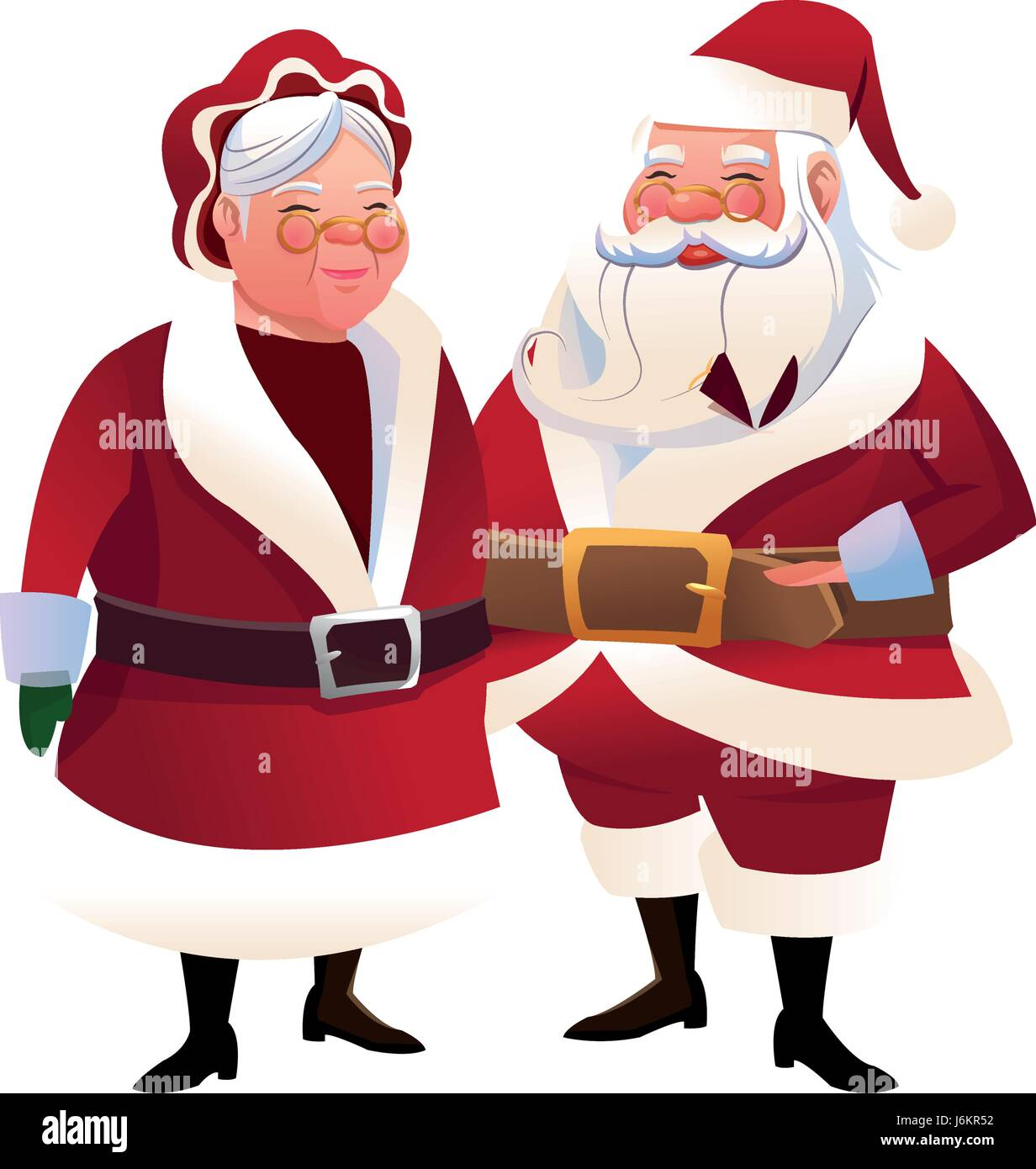Cute Couple Mr And Mrs Santa Claus Characters