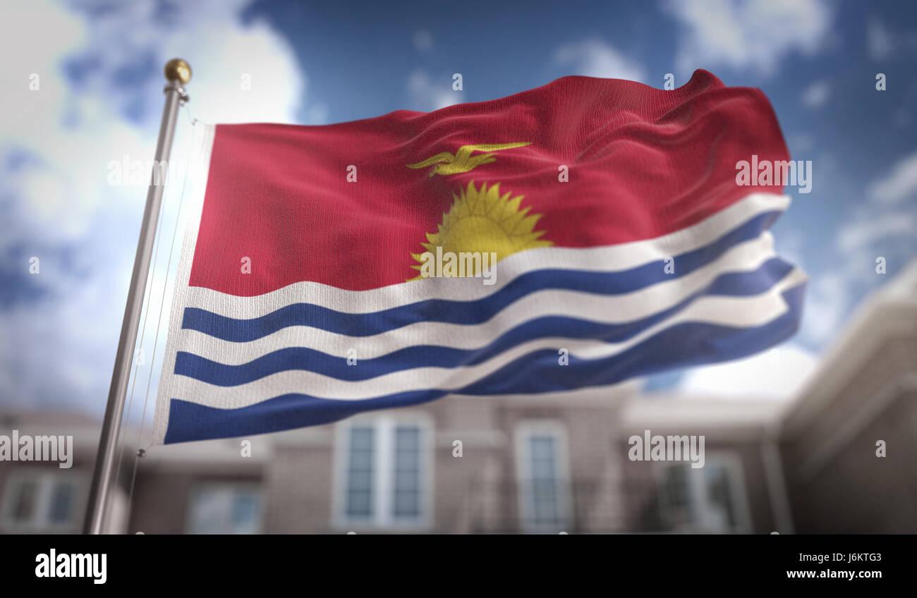 Kiribati Flag 3D Rendering on Blue Sky Building Background - Stock Image