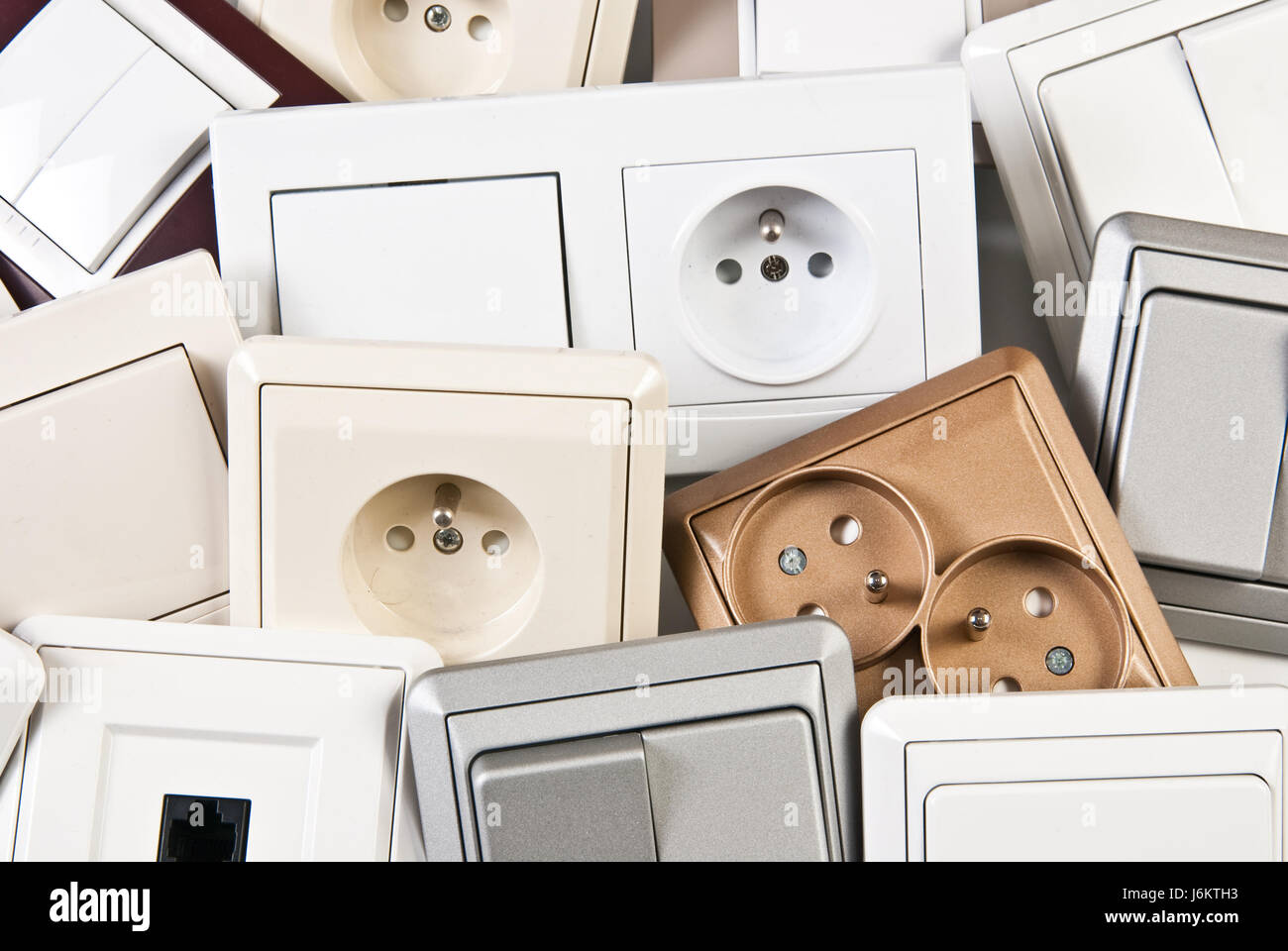 electrical colorful switches and sockets Stock Photo