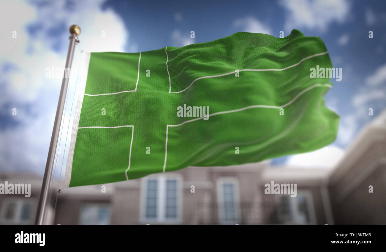 Ladonia Flag 3D Rendering on Blue Sky Building Background - Stock Image