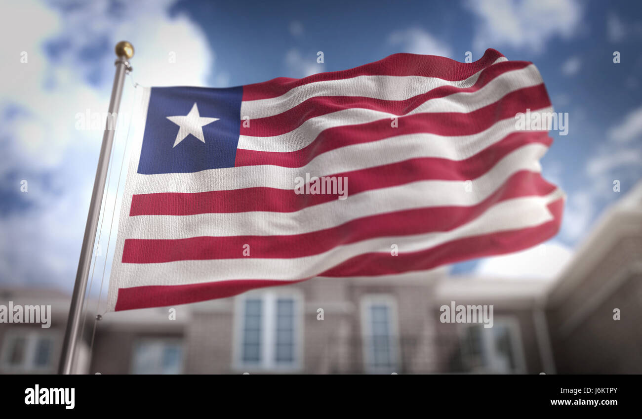 Liberia Flag 3D Rendering on Blue Sky Building Background Stock Photo