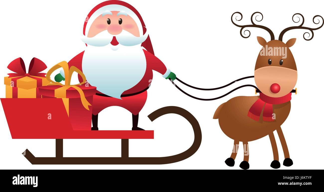 christmas santa claus reindeer sledge gifts cartoon - Santa Claus And Reindeers