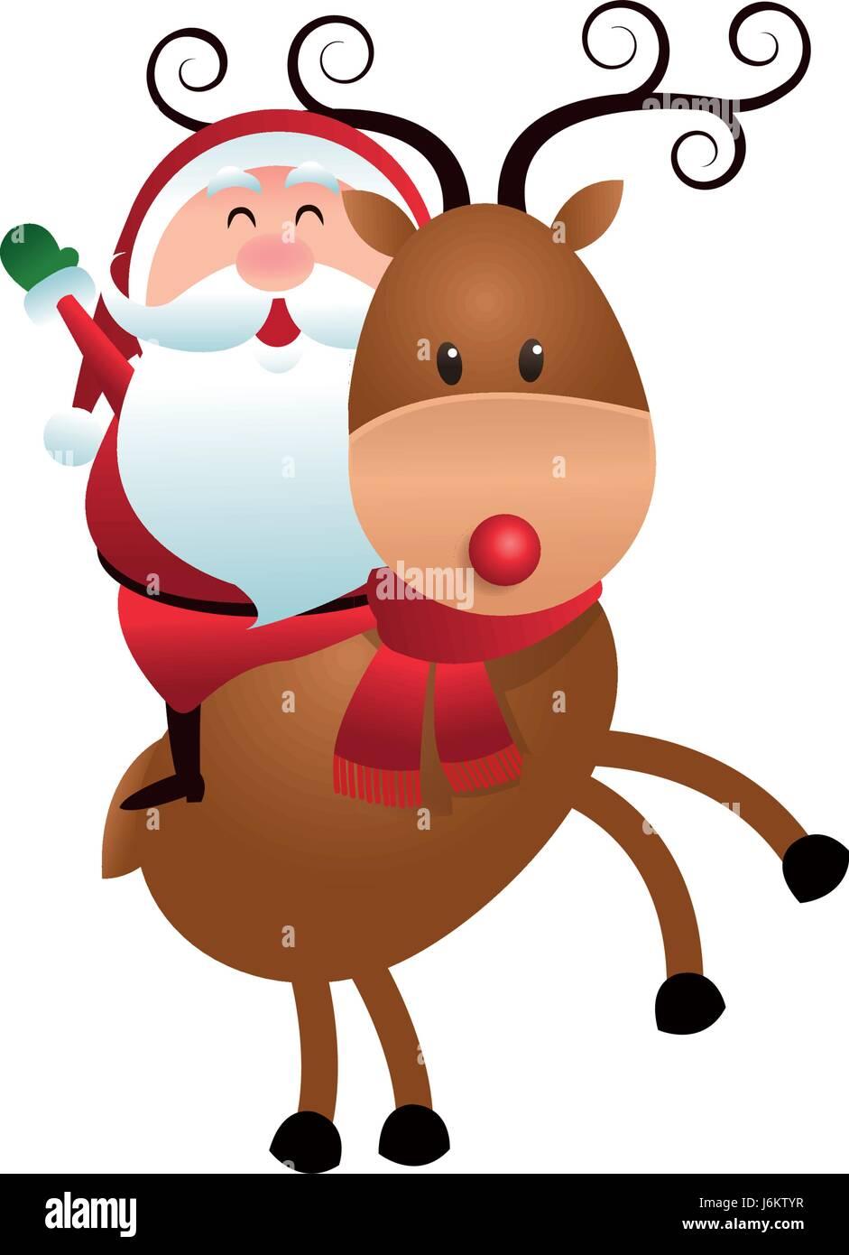 Christmas Santa Claus Riding Reindeer Cartoon Stock Vector