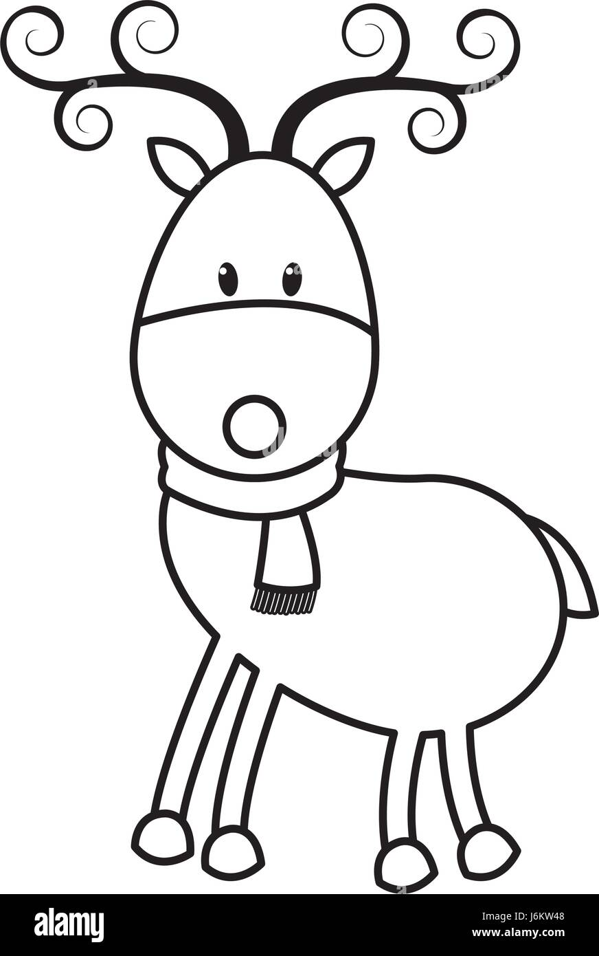 christmas cute reindeer scarf standing animal cartoon outline stock