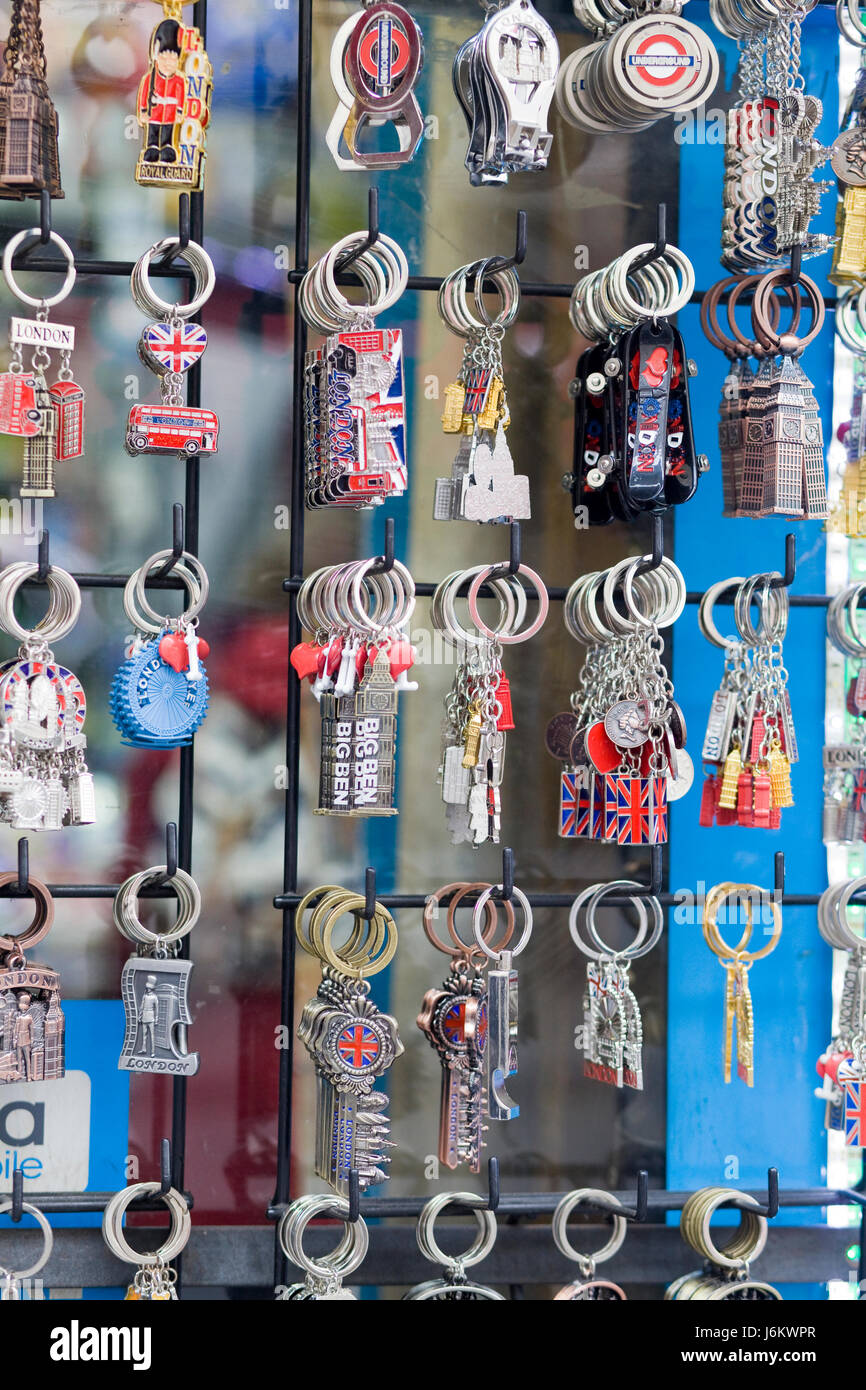 Souvenir Key rings  from London - Stock Image