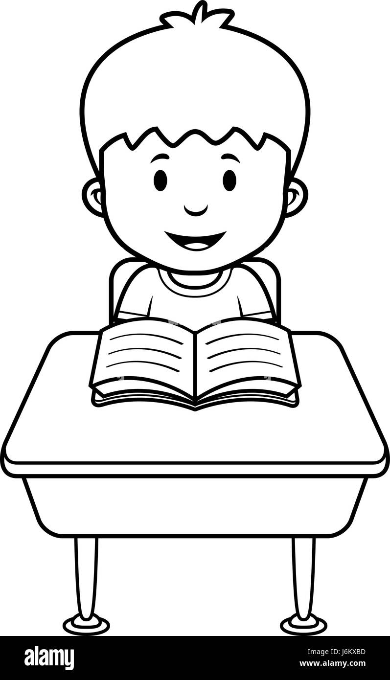 a cartoon illustration of a student at a desk in school stock vector rh alamy com student sitting at desk clipart student working at desk clipart