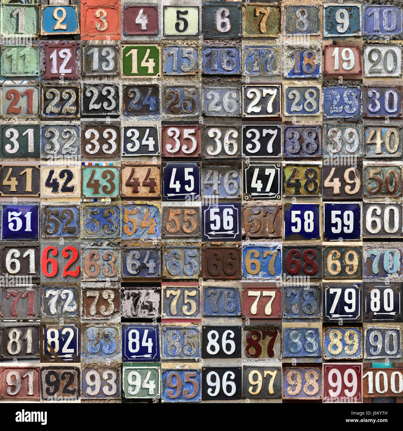 Vintage grunge square metal rusty plate of numbers of street address with numbers closeup, Consecutive street numbers - Stock Image