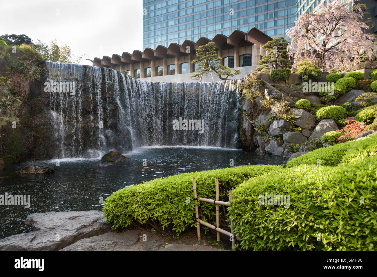 New Otani hotel Japanese gardens.Typical japanese garden in the centre of Tokyo. - Stock Image