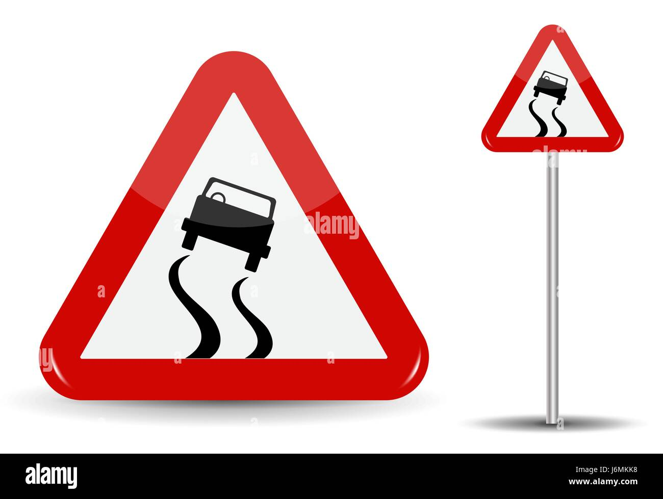 Sign Warning Slippery road. In Red Triangle is a sketchy machine that skidded. Vector Illustration. - Stock Image