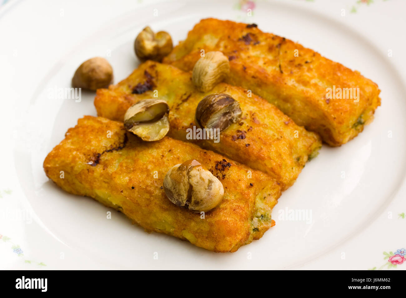 cheese - spinach croquettes with chestnuts Stock Photo