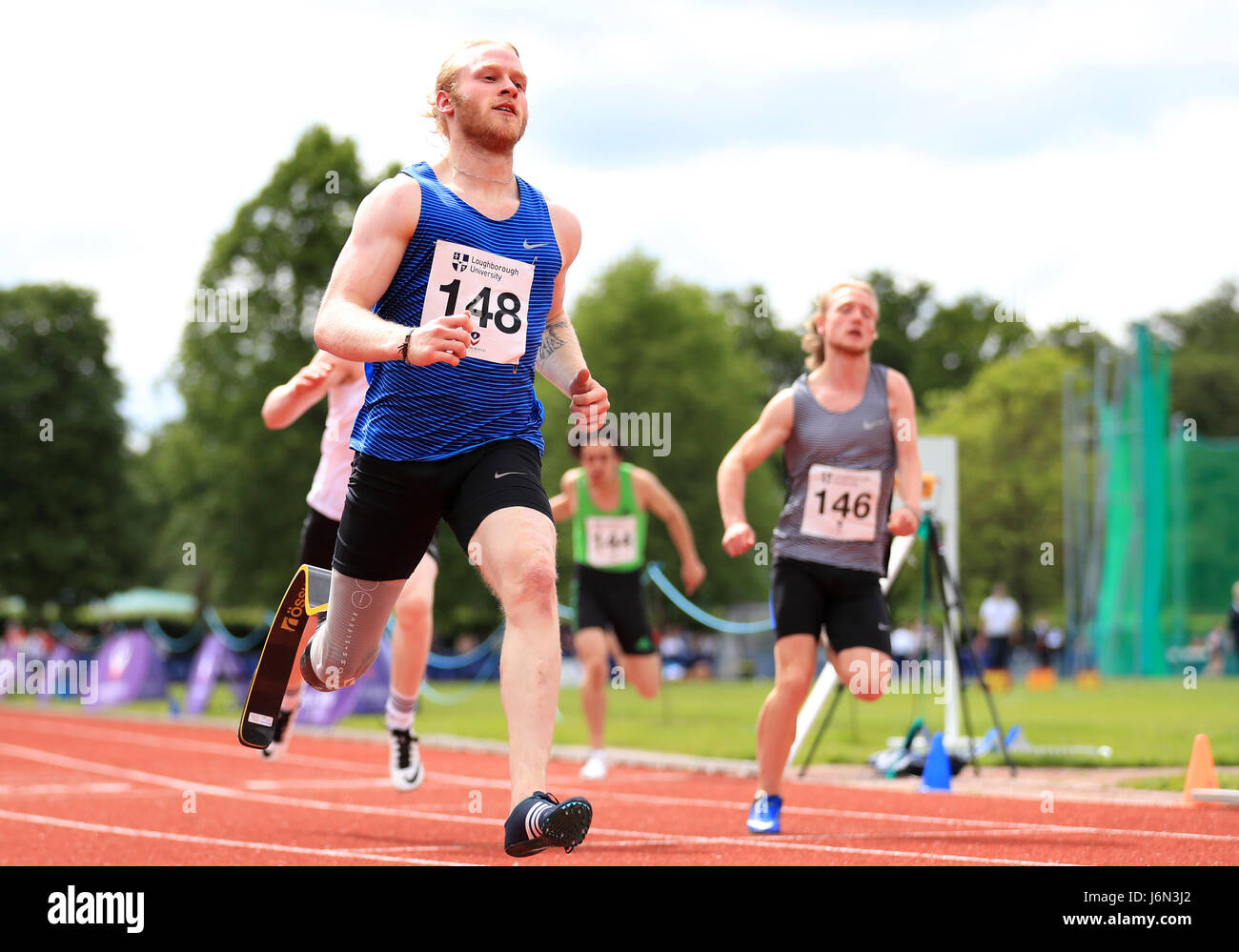 Jonnie Peacock wins the 100 Metres Guest Men's Group D Race during the Loughborough International Athletics - Stock Image