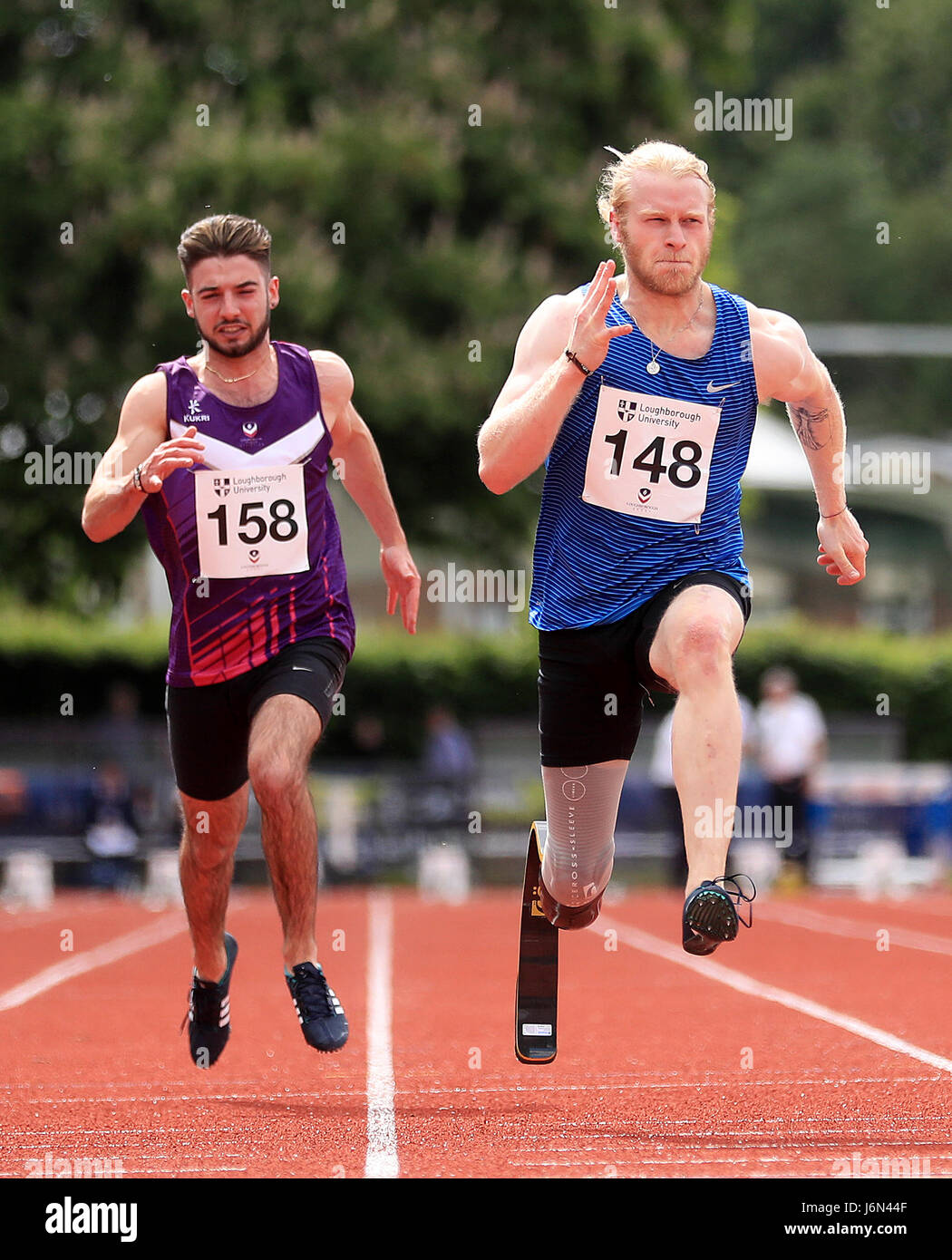 Jonnie Peacock (right) wins the 100 Metres Guest Men's Group D Race during the Loughborough International Athletics - Stock Image