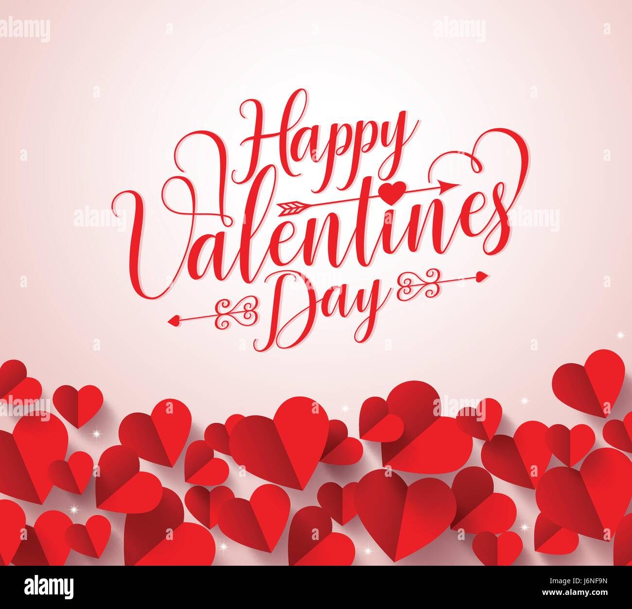 Happy Valentines Day Greetings Typography In White Background Vector