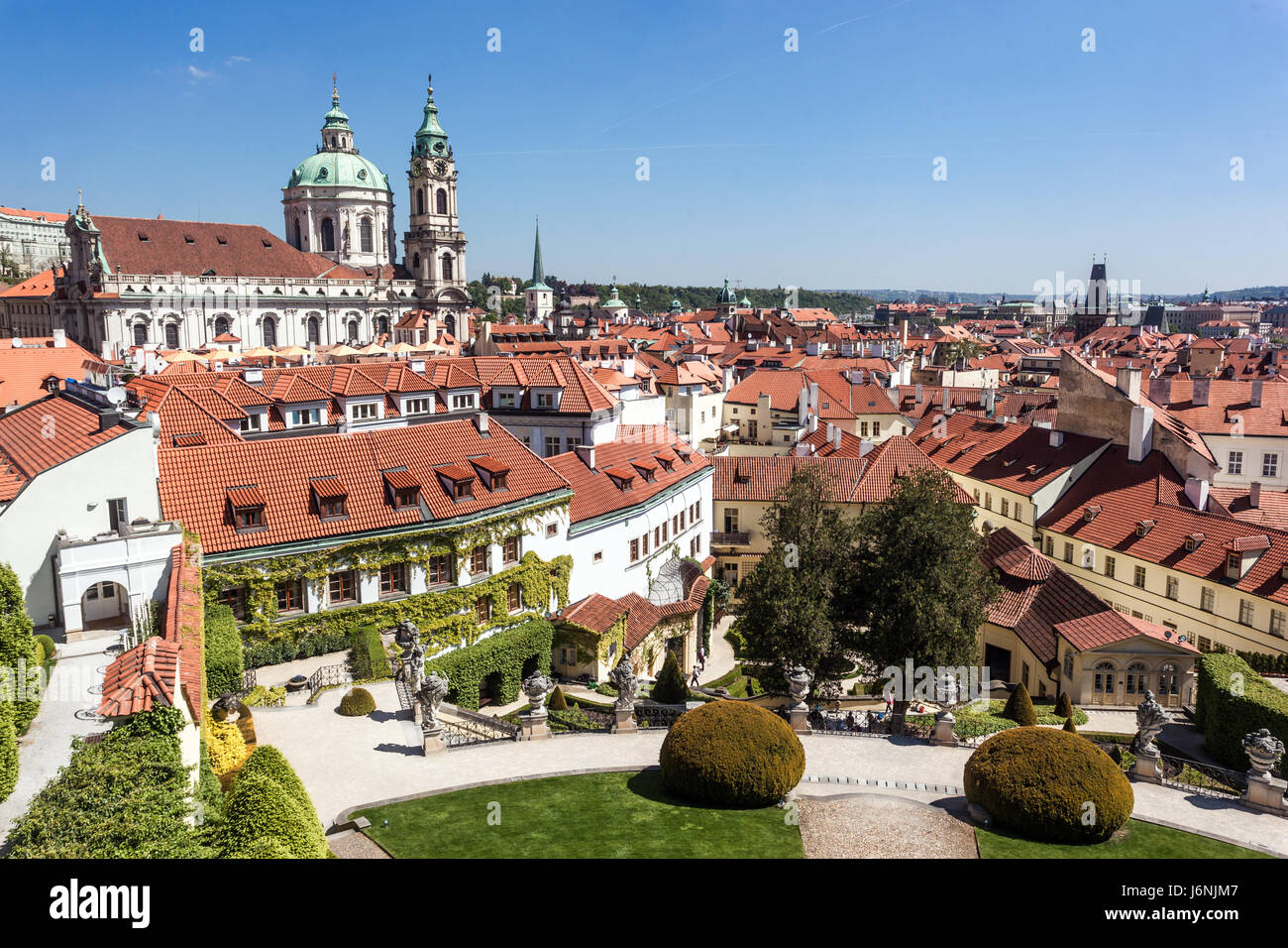 Prague gardens, One of the most beautiful Prague garden is baroque Vrtba Garden, Mala Strana, Czech Republic, Europe - Stock Image