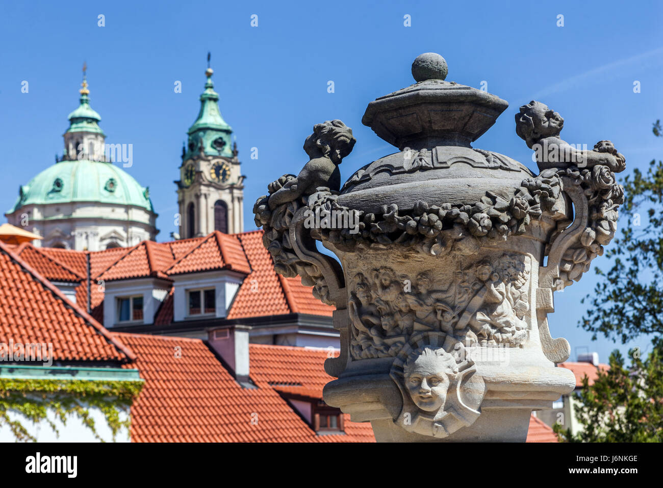 One of the most beautiful baroque gardens in Prague, Vrtba Garden, Mala Strana, Czech Republic, Europe - Stock Image