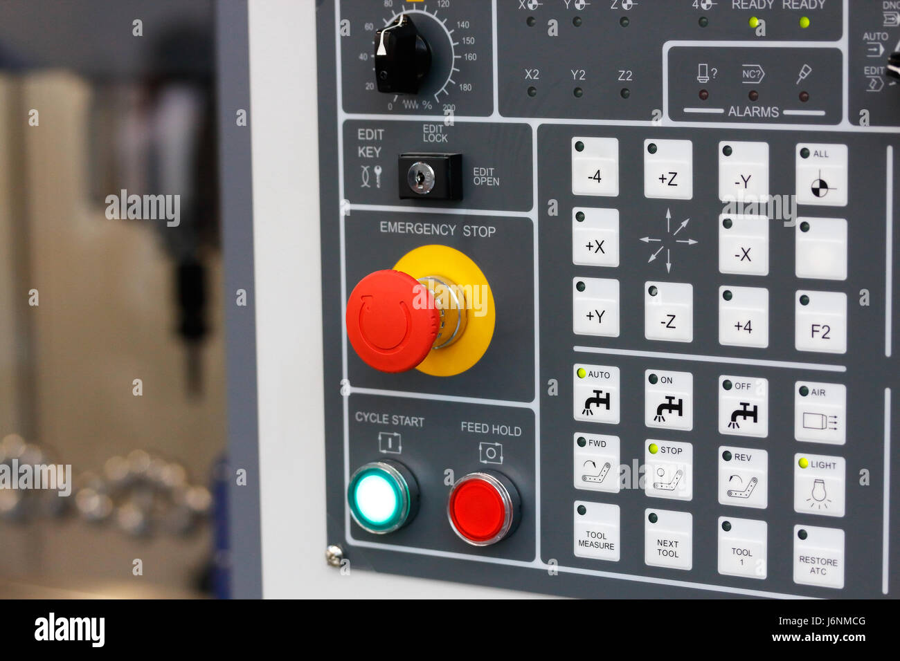 Control panel of cnc milling center. Selective focus. - Stock Image