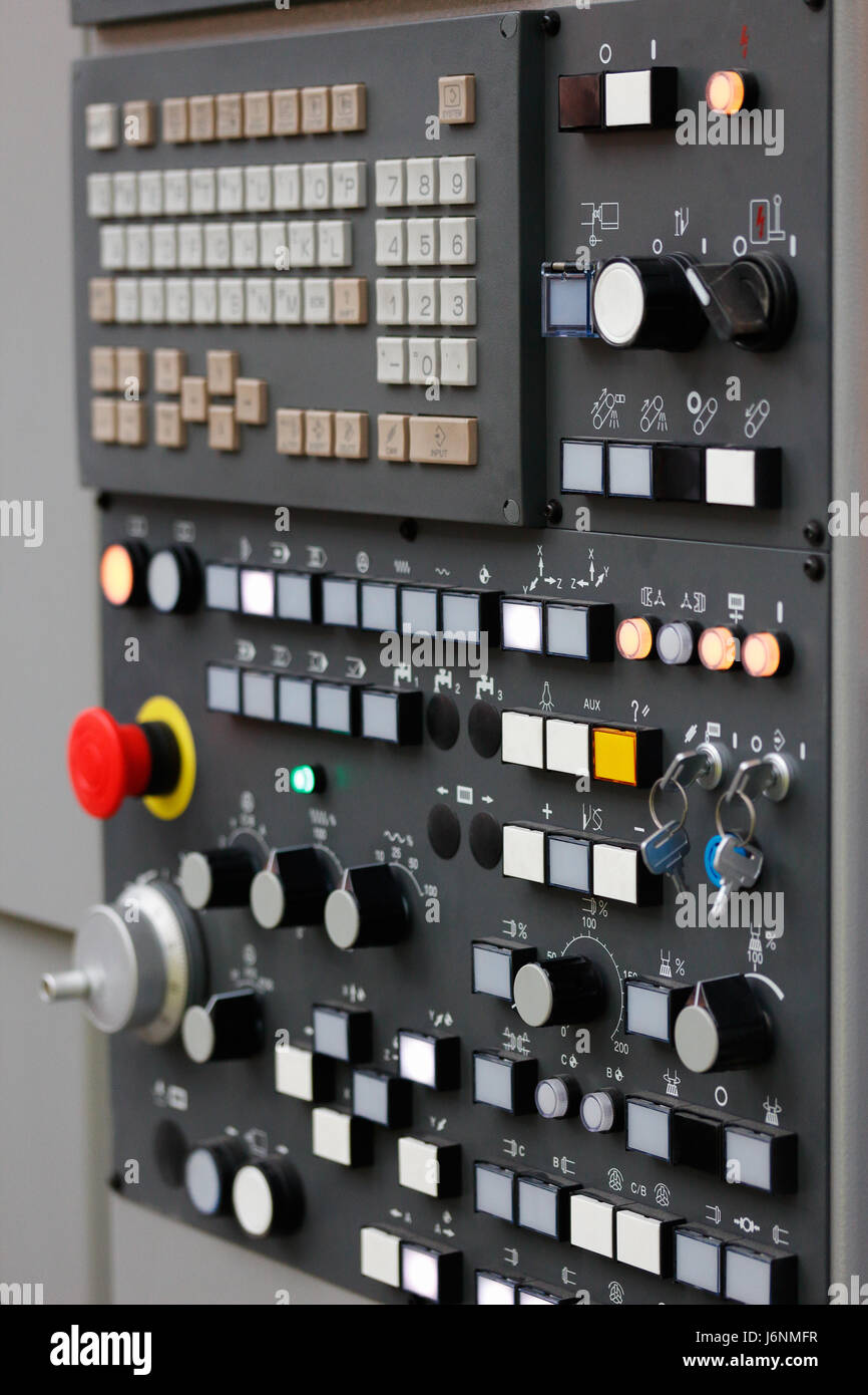 Control panel of modern CNC machining center. Selective focus. - Stock Image