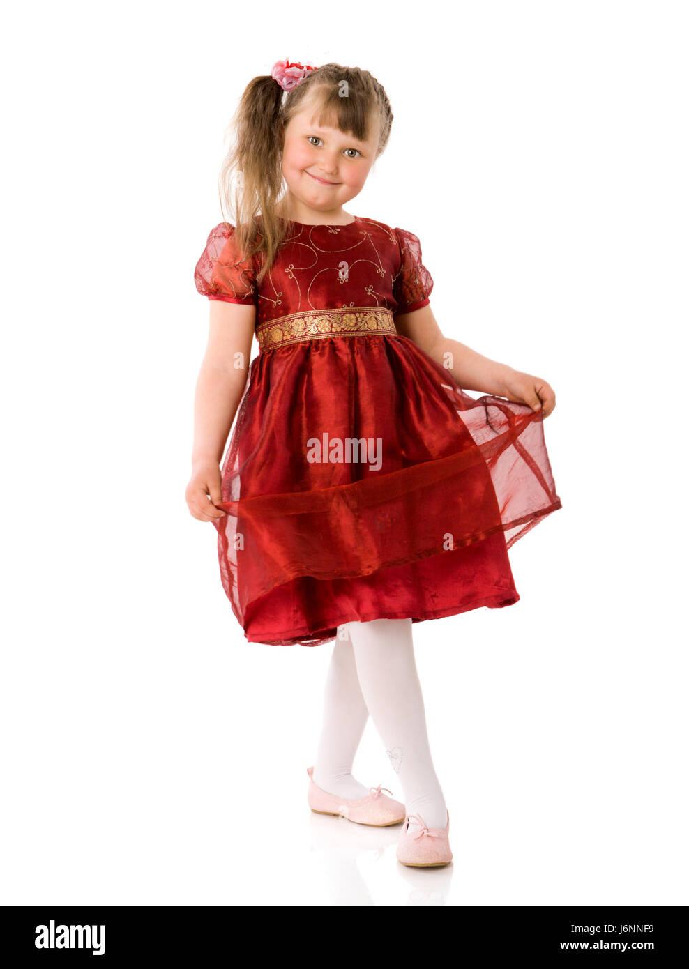 Little girl wearing beautiful dress isolated on white Stock Photo