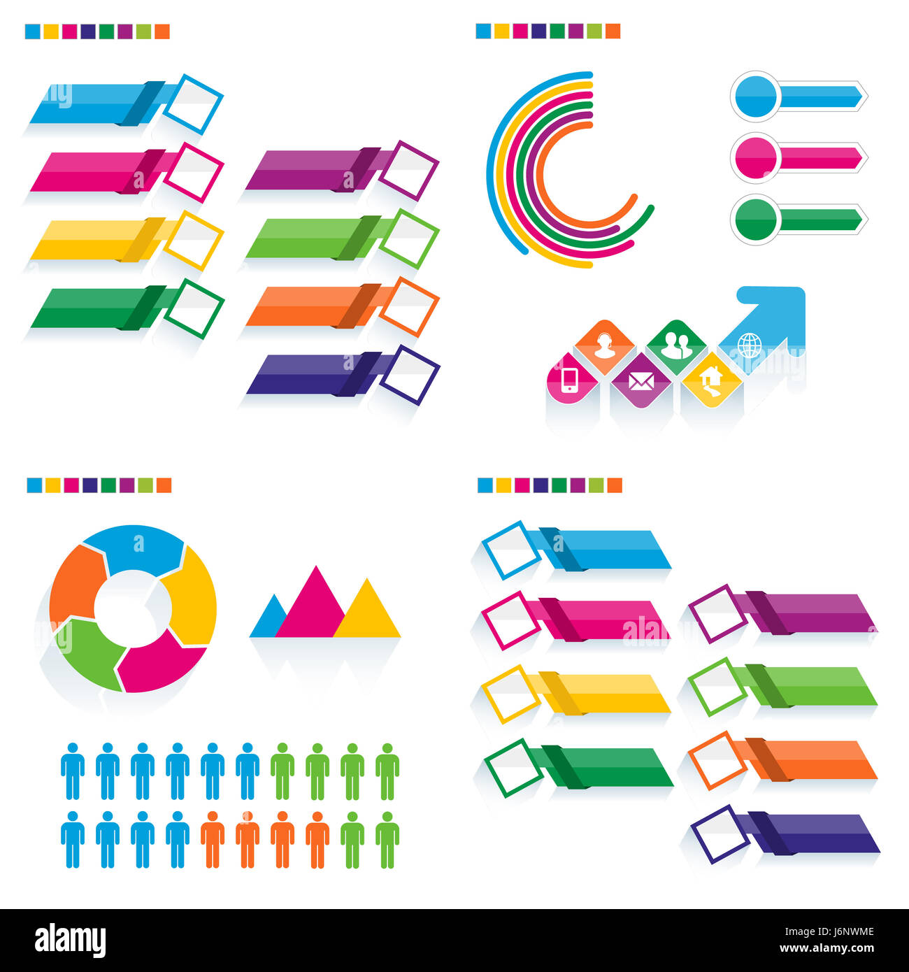Business infographic template set. Vector illustration. Can be used for workflow layout, banner, diagram, number Stock Photo