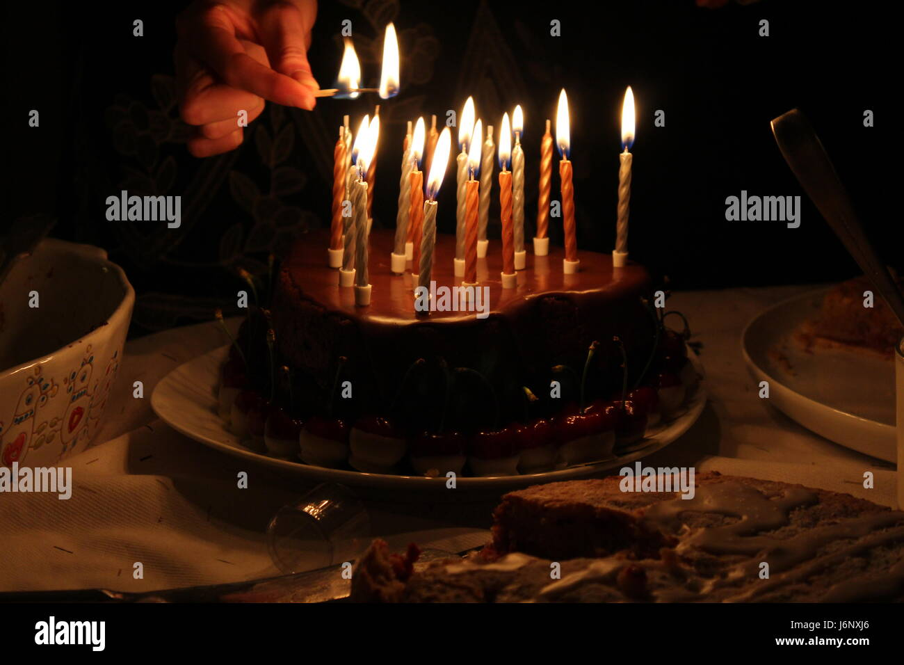 Marvelous Hearted Shape Chocolate Birthday Cake With Lit Candles And Hand Personalised Birthday Cards Cominlily Jamesorg