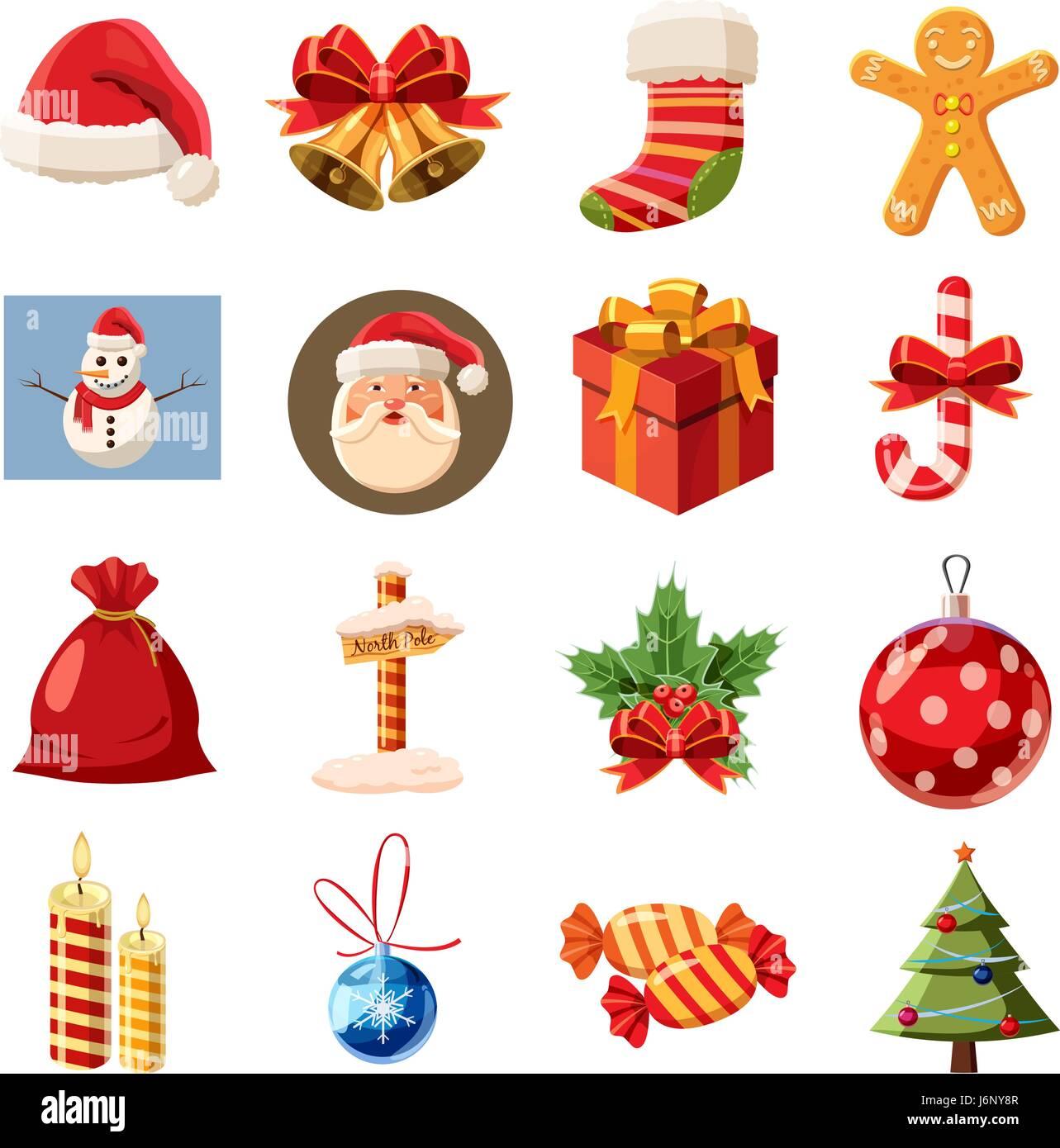 Christmas icons set, isometric 3d style - Stock Image