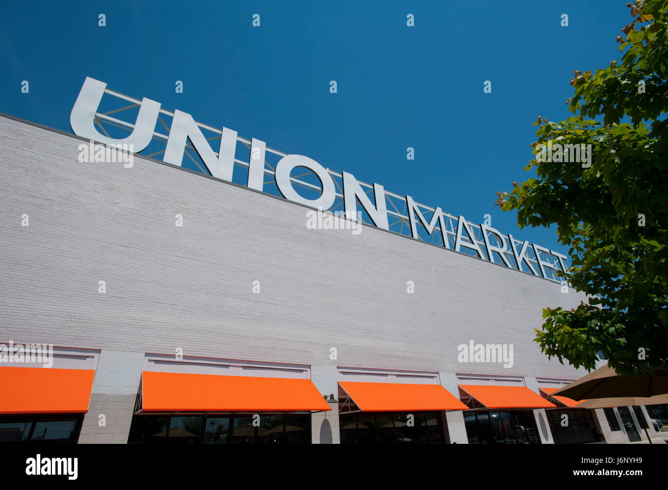 USA Washington DC Union Market hip market place for food and shopping in NE Northeast D.C. - Stock Image