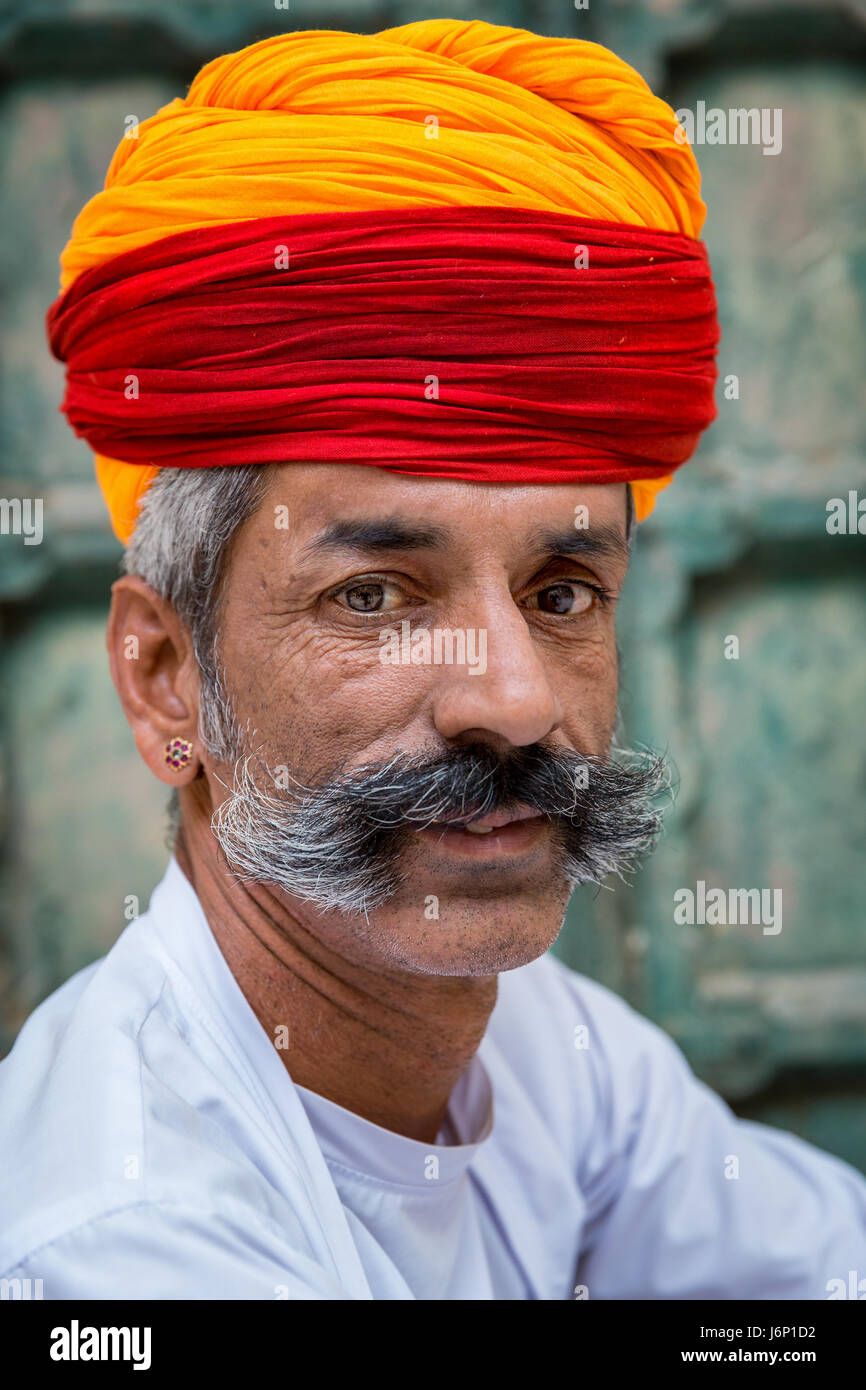 Portrait of Rajasthani dressed in traditional clothes, Jodhpur, Rajasthan, India Stock Photo