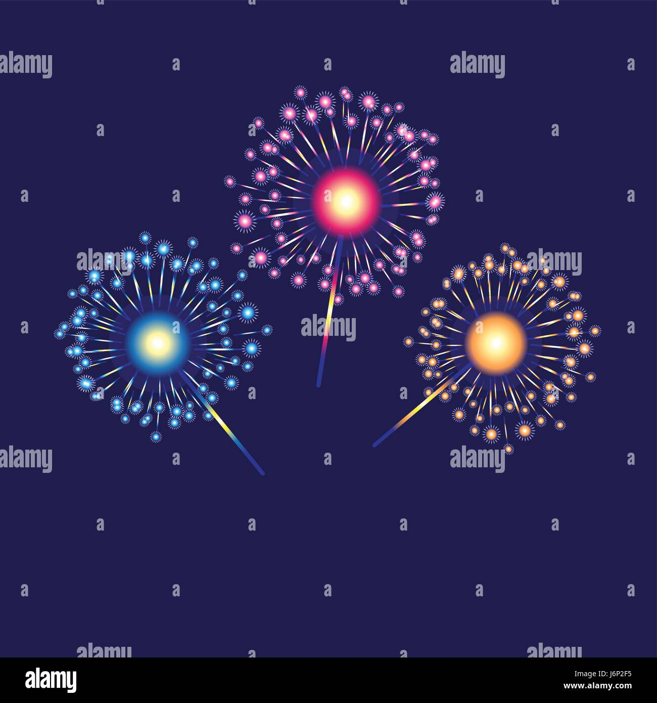 Vector multicolored bengal lights - Stock Vector