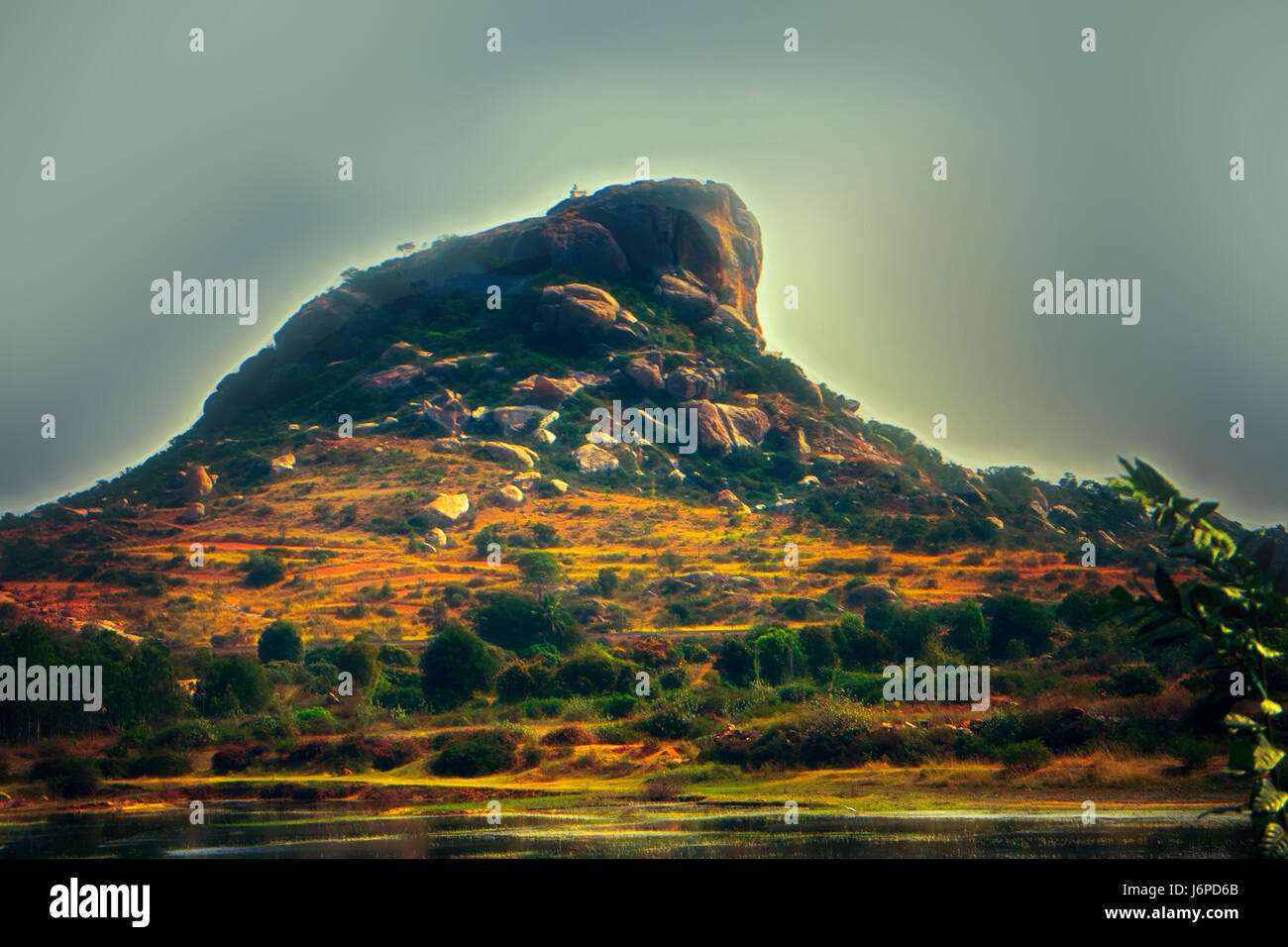 Sacred mountain in India. In proximity to God and meditation. Computer drawing (fantasy art, Digital Art, fantasy - Stock Image