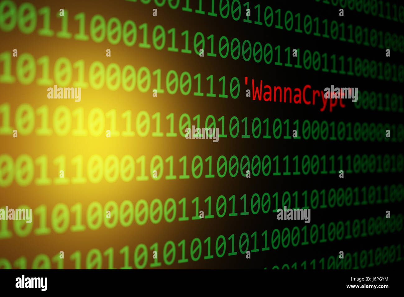 The WannaCrypt and Binary code, The WannaCry and RansomWare, Concept Security and Malware attack. - Stock Image