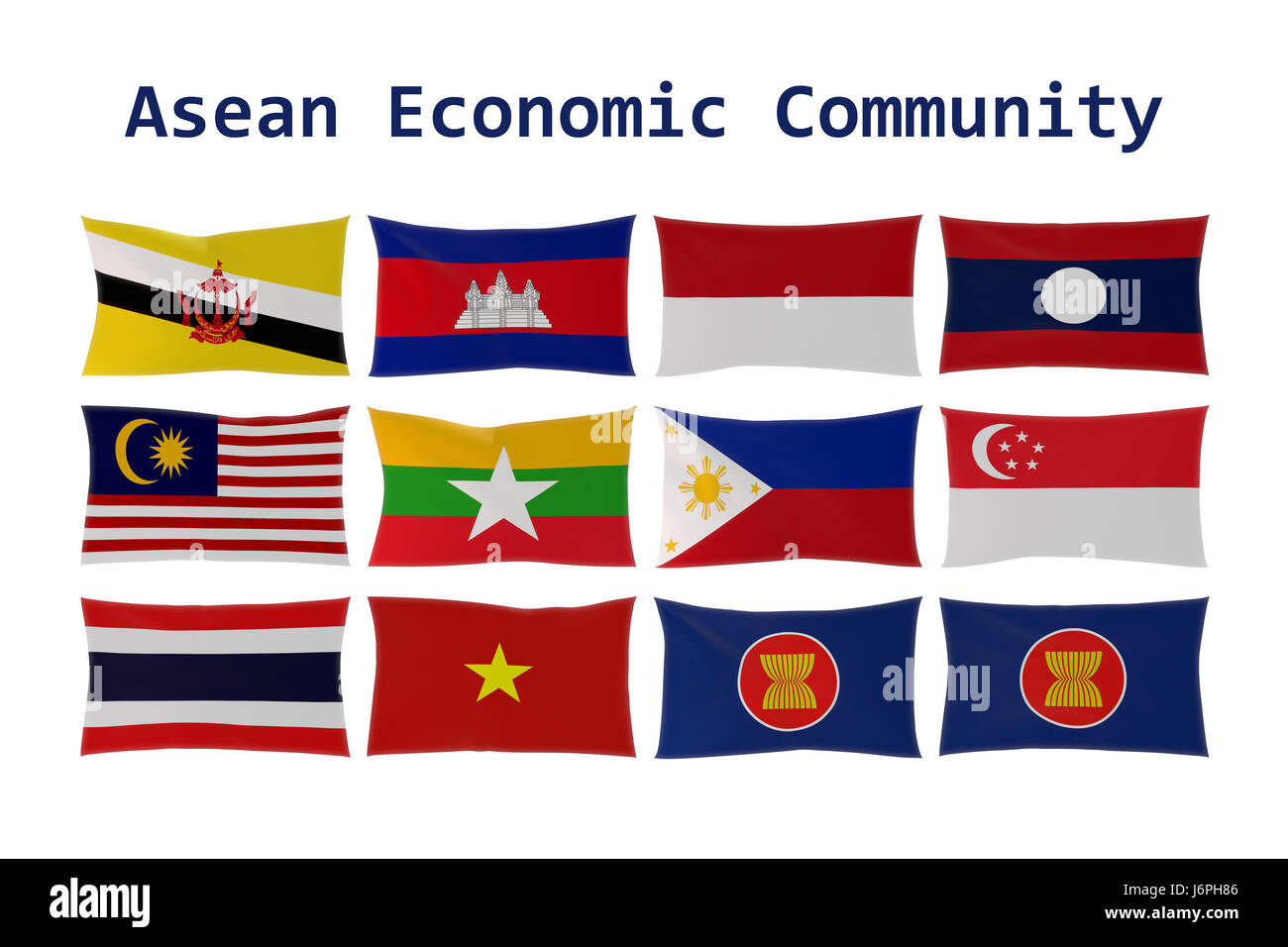 3D rendering of ASEAN country flags (Association of Southeast Asian Nations) and Asean Economic Community (AEC) - Stock Image