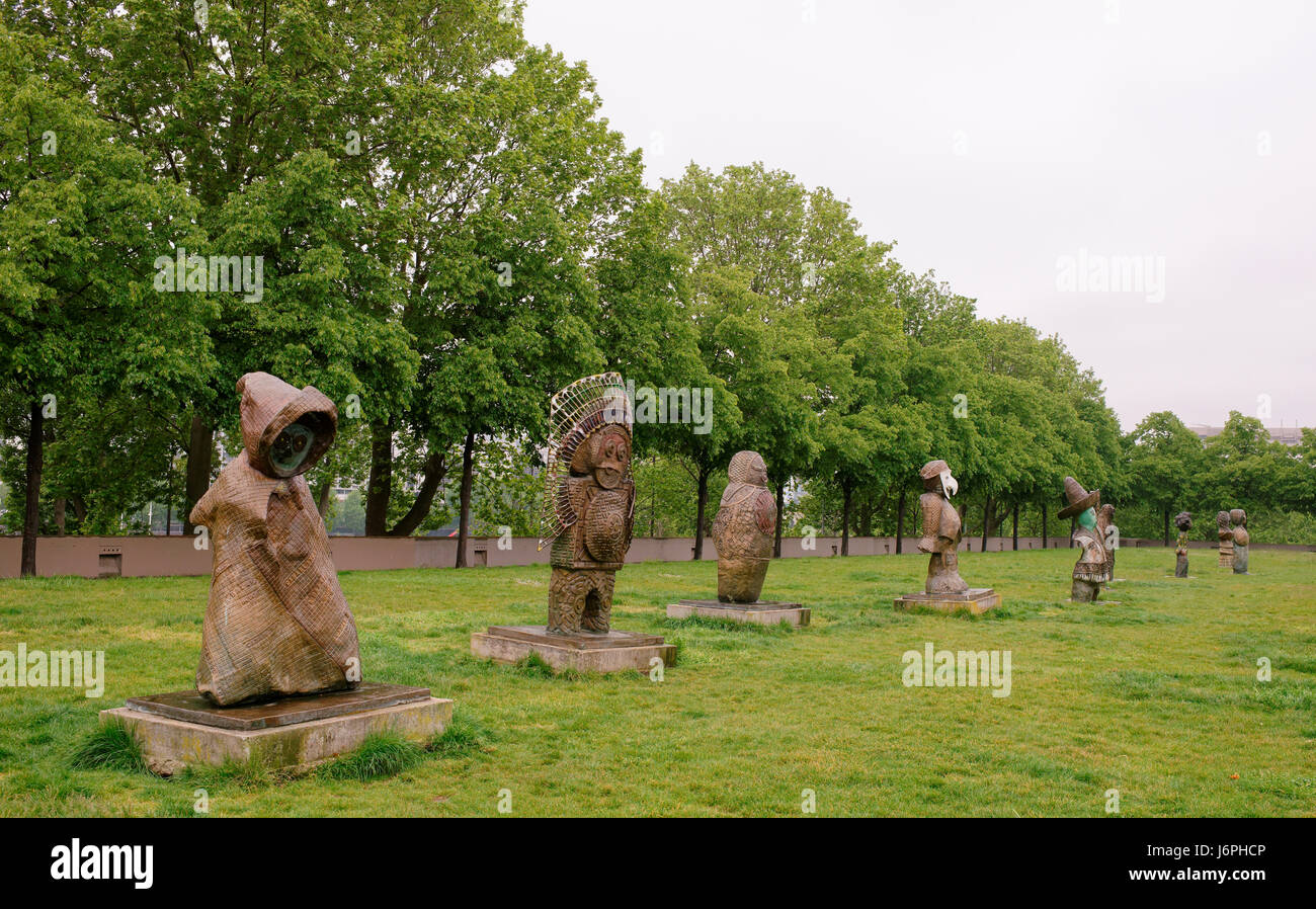 Paris,France- May 06,2017: Exhibition of sculptures in the park of Bercy - Stock Image