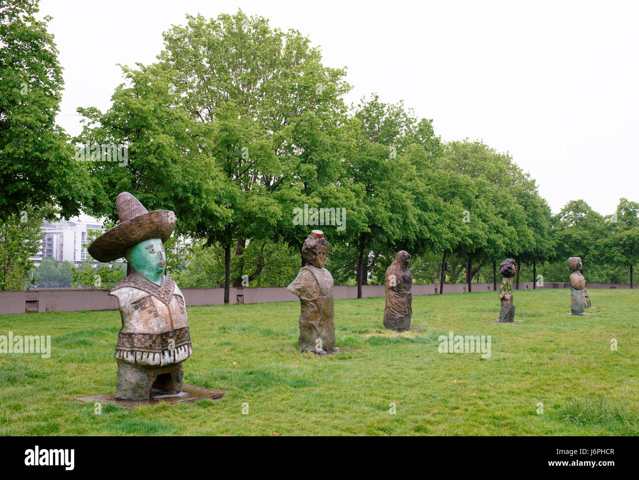 Paris,France- May 06,2017: Exhibition of sculptures in the park of Bercy Stock Photo