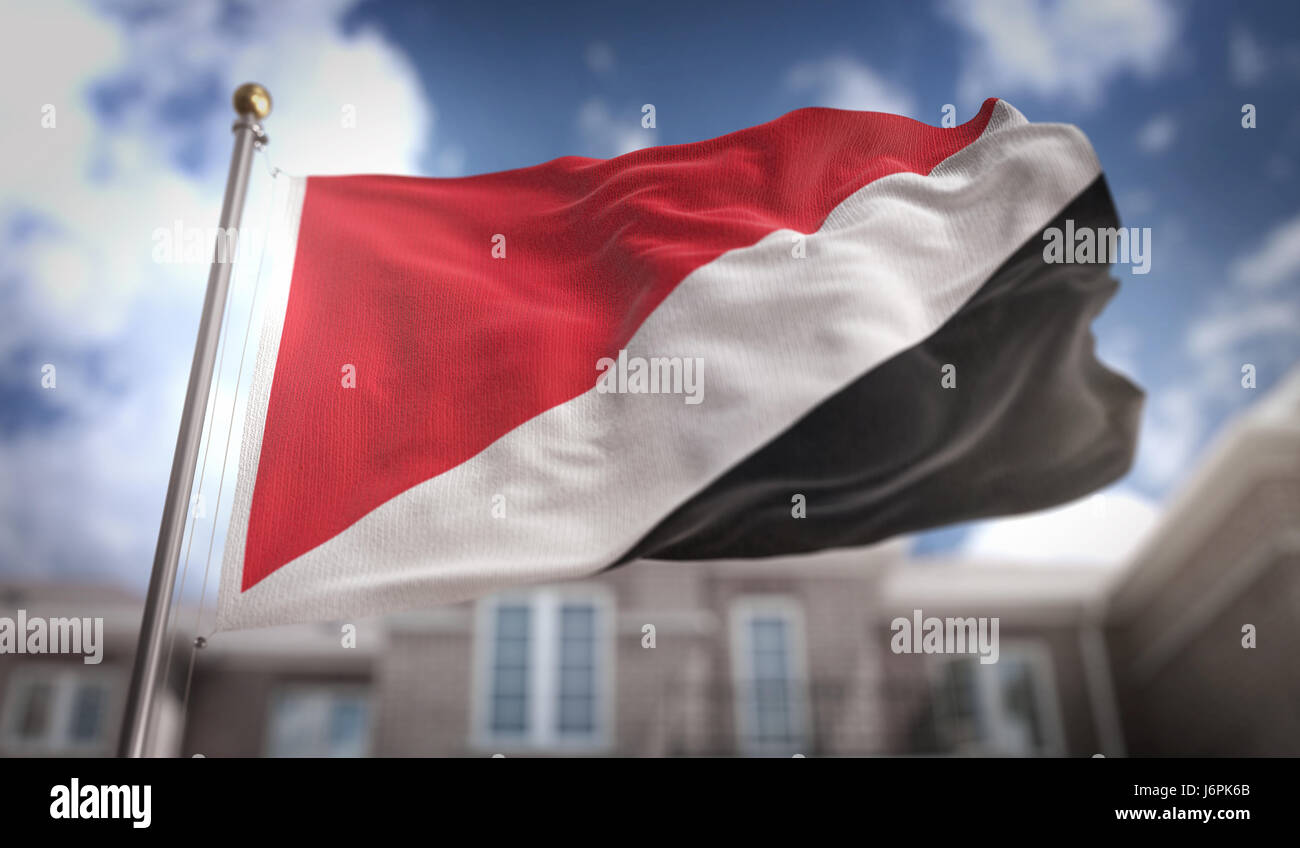 Principality of Sealand Flag 3D Rendering on Blue Sky Building Background - Stock Image