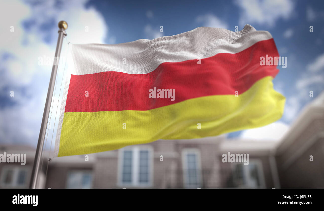 South Ossetia Flag 3D Rendering on Blue Sky Building Background - Stock Image