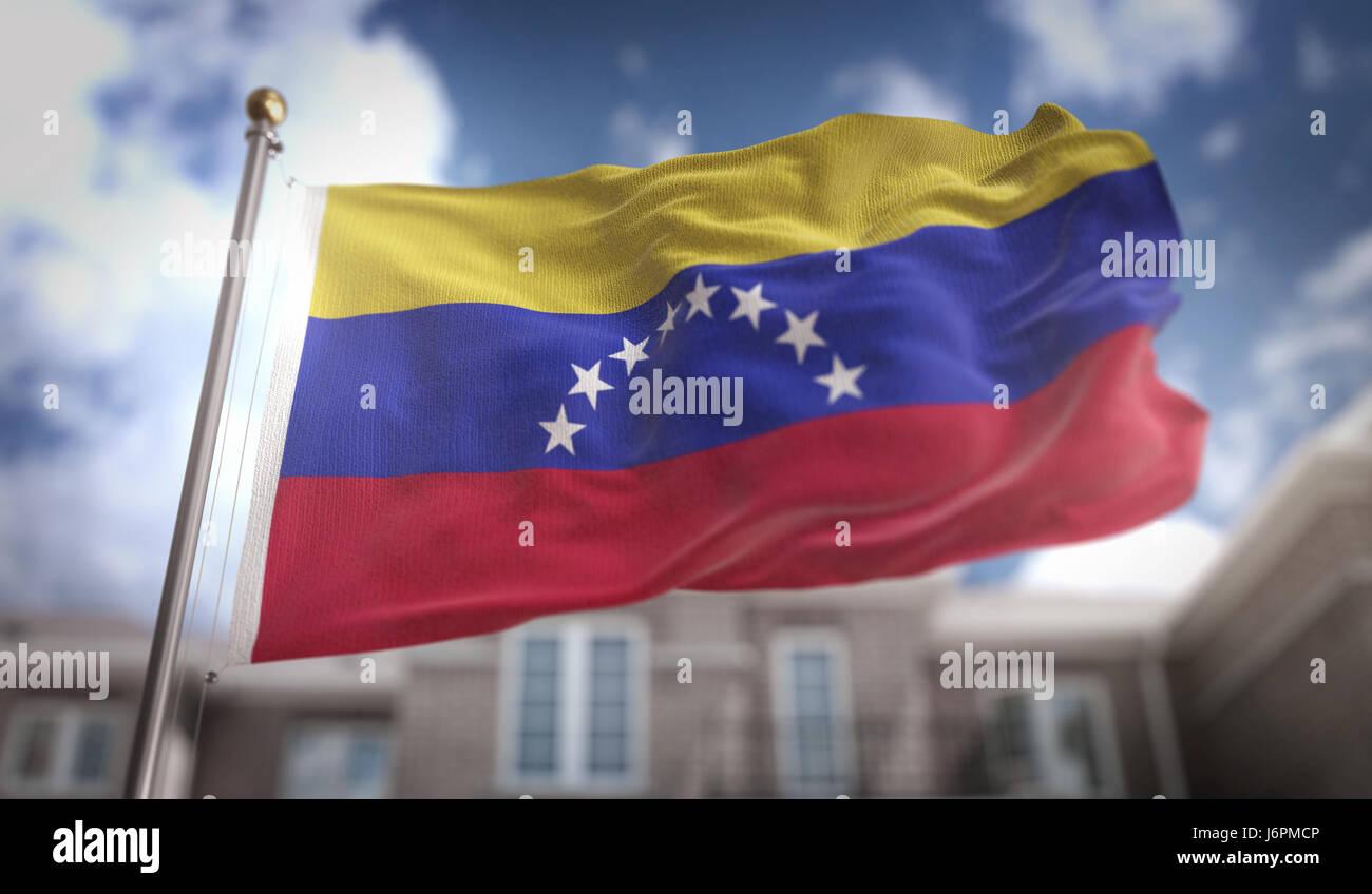 Venezuela Flag 3D Rendering on Blue Sky Building Background - Stock Image