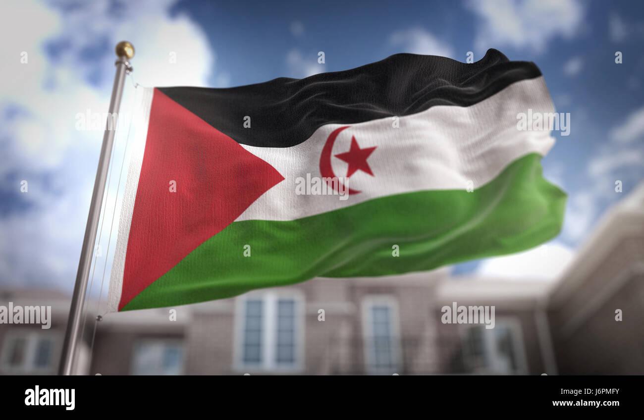 Sahrawi Flag 3D Rendering on Blue Sky Building Background - Stock Image
