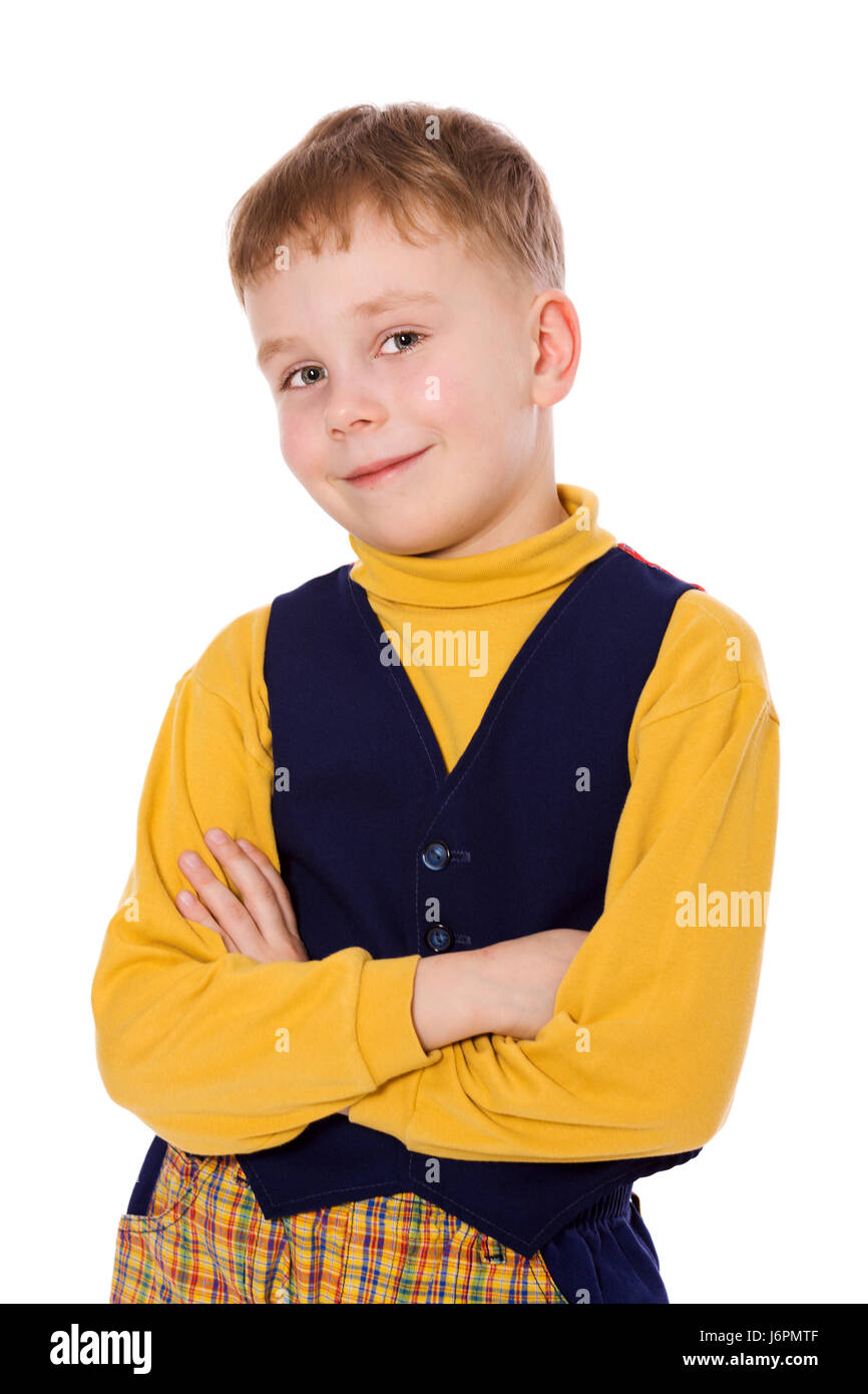 boy wearing vivid clothes isolated on white - Stock Image