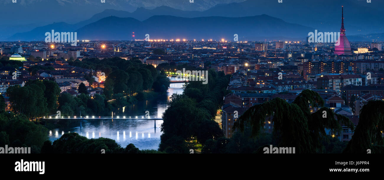 Turin cityscape panorama with river Po and twilight Stock Photo