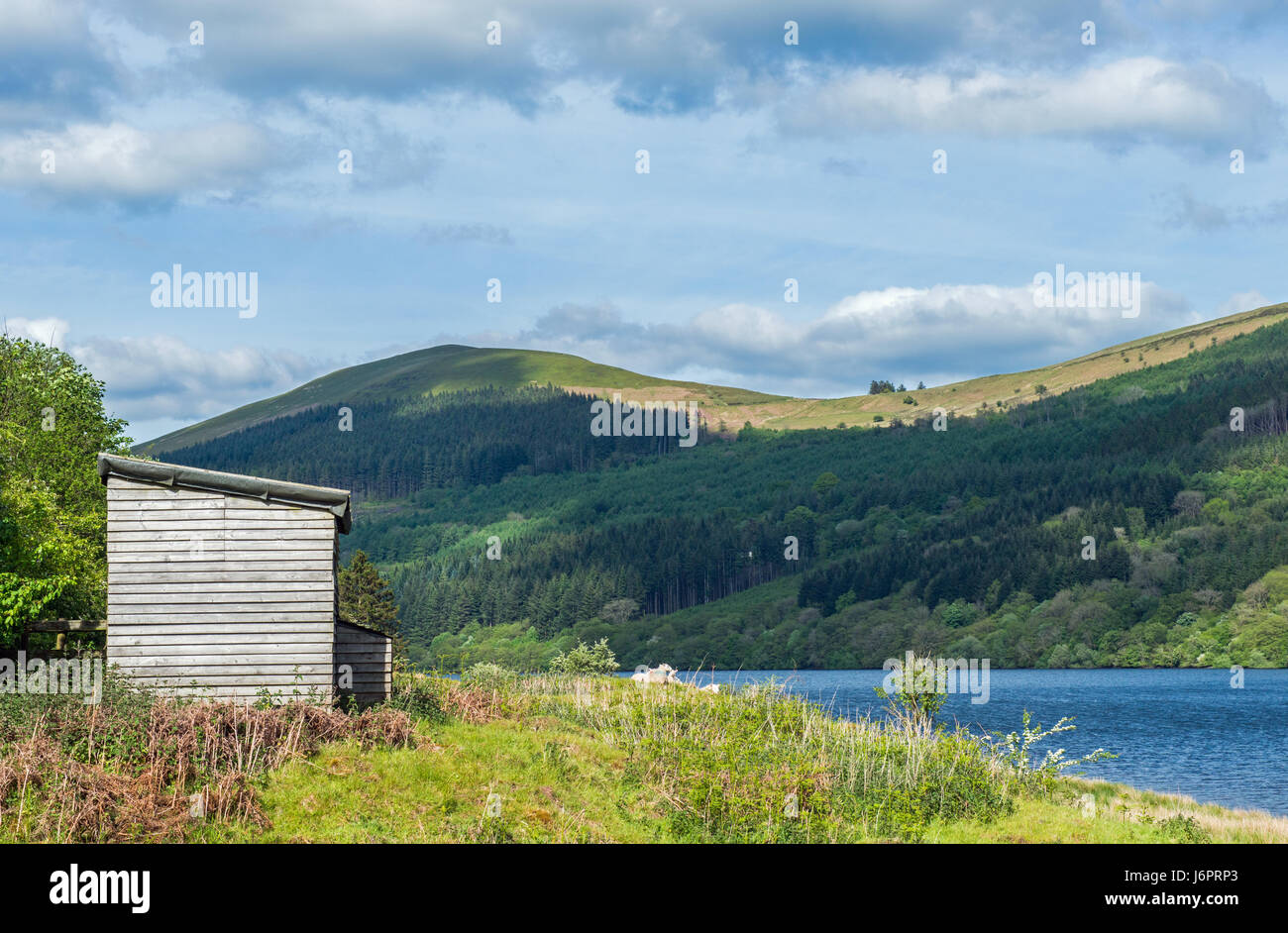 Top of the Talybont Reservoir in the Central Brecon Beacons, Powys, South Wales - Stock Image