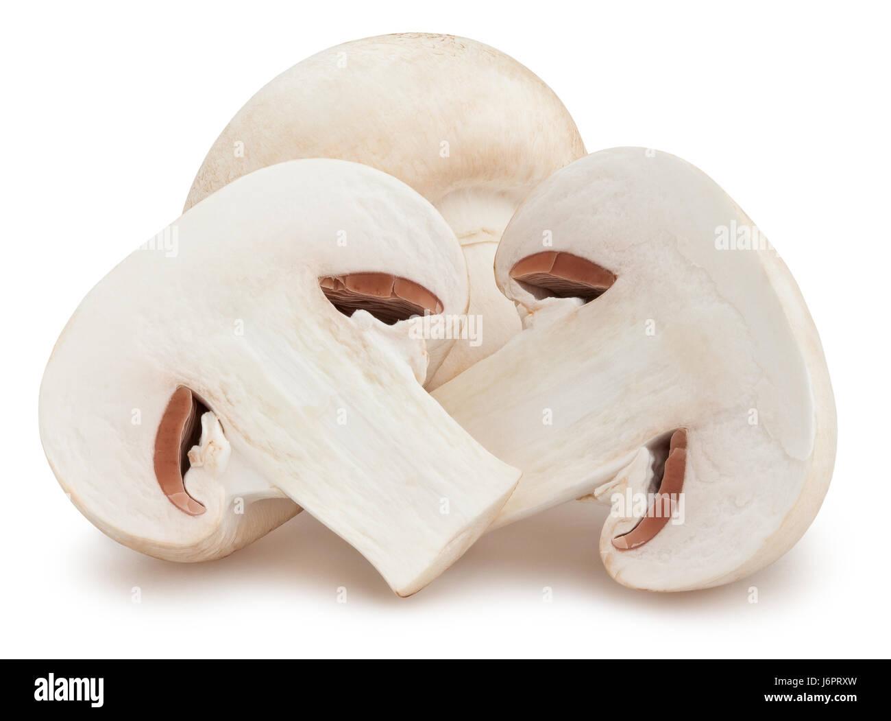 sliced mushrooms isolated - Stock Image